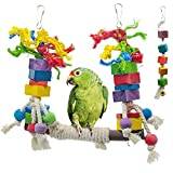 BIKOM 2PCS Bird Swing Toys Parrot Cage Bite Toys Wooden Block Bird Cage Hammock Swing Toy Hanging Toy for Parakeets Cockatiels or Medium Parrots and Birds Like Amazon,African Grey and Cockatoos.