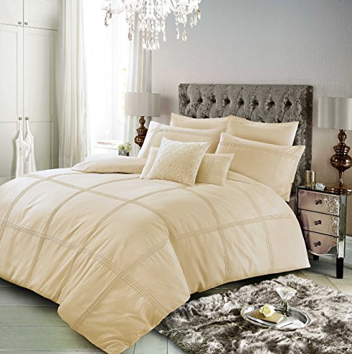 Lyallpur Ophelia Polycotton Duvet Cover Sets with Pillow Cases Value Addition Fancy Bedding Set (Mocha, Double)