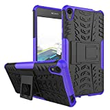 Smfu Funda Compatible Sony Xperia E5 Carcasa Rugged Híbrido Resistente Absorción Anti-arañazos Funda Absorción Impactos con Pie De Apoyo Caja [con Mica 2Unidades]-Púrpura