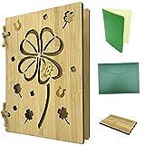 Biglietto di auguri in legno come biglietto di auguri & buono – Biglietto di bambù con quadrifoglio ca. A6 – Set con carta inserto, busta & Probest