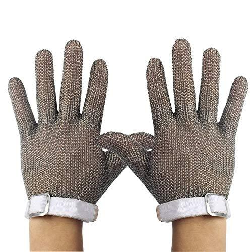 Schnittfeste Handschuhe 2 Stück 304L Edelstahl Anti-Schneidhandschuhe, Oyster Skin Fleischschneiden Holzschnitzerei Angeln Sicherheitsarbeitshandschuhe, 6 Größen (Size : XX-Large)