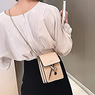 Fashion Single-Shoulder Bags PU Chain-Strap Single Shoulder Bag Cellphone Bag Ladies Messenger Bag (Black) (Color : Khaki)