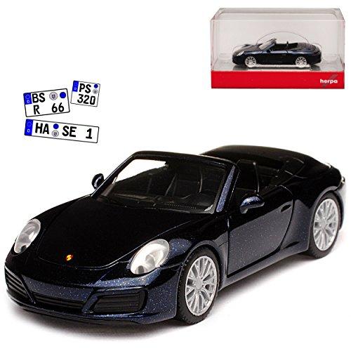 Herpa Porsche 911 991 Carrera 4S II Cabrio Dunkel Blau Fast Schwarz Modell Ab 2012 Ab Facelift 2015 H0 1/87 Modell Auto mit individiuellem Wunschkennzeichen