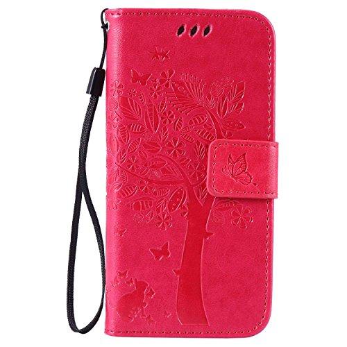 pinlu Portafoglio Custodia in PU Pelle Protettiva per Samsung Galaxy J5 2015 (5,0 Pollici) Flip Cover con Funzione di Appoggio Gatto e Albero Rilievo Modello (Rosa Rossa)