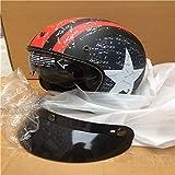 Berrd Retro Motorradhelm Helm mit offener Maske Retro Helm Motocross Helm mit mattem Aufdruck L