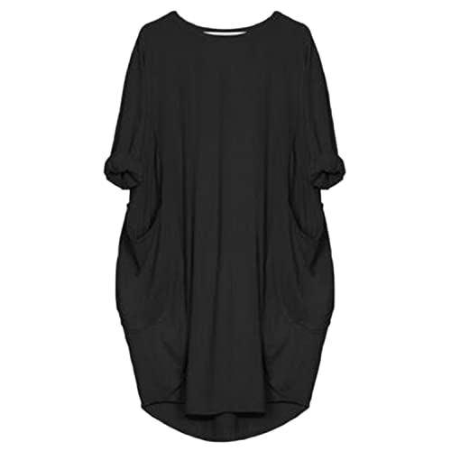 b04d71c58c63 Kidsform Women Oversized Dress Long Sleeve Tunic Dress Plus Size Shirt Dress  Baggy Pockets Short Jumper