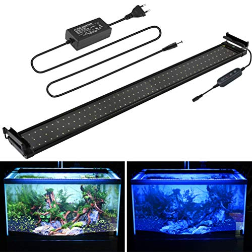 BELLALICHT Aquarium LED Beleuchtung, Aquariumbeleuchtung Lampe Weiß Blau Licht 18W mit Verstellbarer Halterung für 95cm-115cm Aquarium