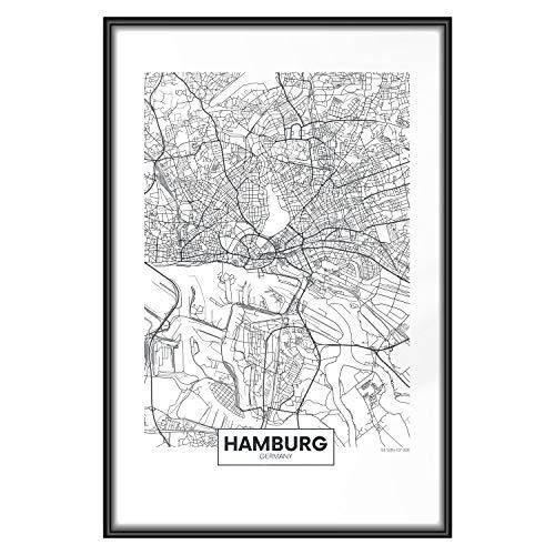 murando Poster Stadt Hamburg 40x60 cm mit Rahmen Bilder Kunstdruck Plakat Wandbild Print Kunstposter Wandposter Gerahmt Wandbild Wohnung Wanddeko Design - Karte d-B-0228-ao-a