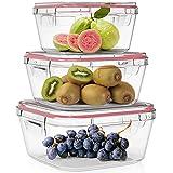 Home Fleek - Set de 3 Envases de Vidrio Cuadrado para Alimentos | Recipientes Herméticos de Cristal Para La Cocina | Apto para Lavavajilla, Horno, Microondas, Congelador | Sin BPA (Rojo, Set de 3)
