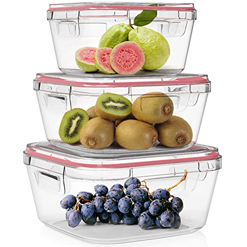 Home Fleek - Envases de Vidrio Cuadrado para Alimentos | Herméticos | Sin BPA (Rojo, Set 3)