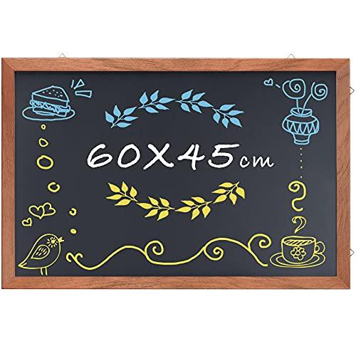 Blackboard Chalkboard - 60 x 45cm Large Rustic Hanging Wood Framed Chalkboard Magnetic Blackboard for Home, Office,Class