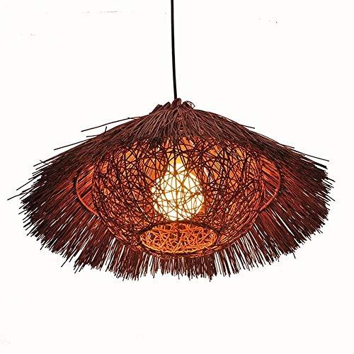 Luce Plafoniera Vintage Shabby Country del sudeste asiático Rattan Arts Balcón Corredor Sombrero de paja Jaula de pájaros Marrón claro y oscuro 10W Led 50Cm Lámpara colgante Lámpara de araña