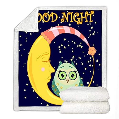 Lindo búho Sherpa manta de dibujos animados Animal manta manta de luna durmiendo fina colcha buena noche suave colchas de forro polar manta 150 x 200 cm