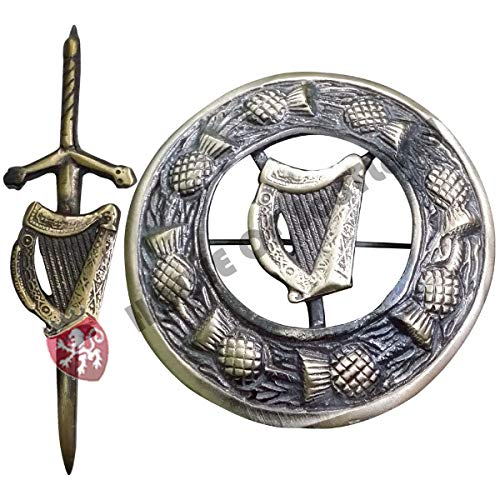 House Of Scotland Scottish Celtic Kilt Pin Antique Finish Burscheid 4' Highland Kilt Fly Plaid Brooch Metal (Irish Harp Pin Brooch)