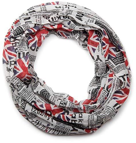 styleBREAKER Union Jack Loop Schlauchschal im Zeitungsdruck, Newspaper Stil, leicht und seidig, Unisex 01016078, Farbe:Weiß