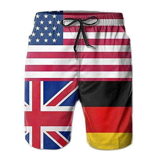 artyly USA Britisch Deutschland Deutschland Flagge Bunte Strandshorts Badehose, Größe L.