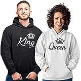 Pack de 2 Sudaderas para Parejas King y Queen Corona (Mujer Tamaño S + Hombre Tamaño M)