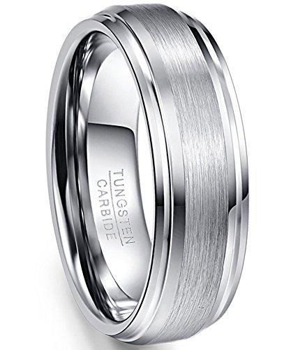 NUNCAD Wolfram Ring Herren/Damen 7mm Silber matt + hochpoliert, Ring Unisex für Hochzeit, Verlobung u. Partner, Größe 65 (20.7)
