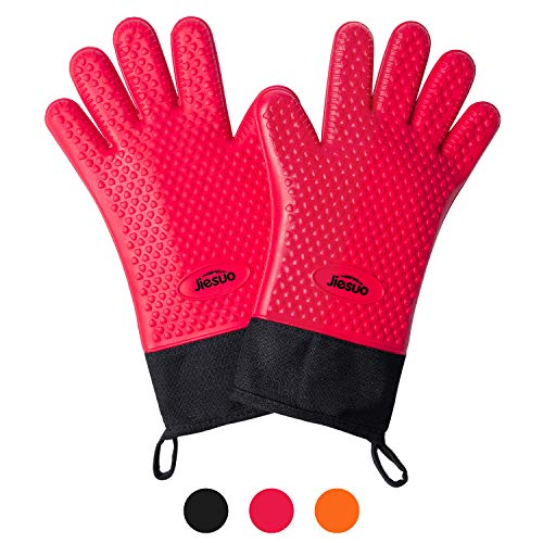 JIESUO Silicone BBQ Grill Gloves Kitchen Heat Resistant Oven MittsWaterproof NonSlip Potholder Barbecue Gloves for Grilling Cooking BakingSmokingRed