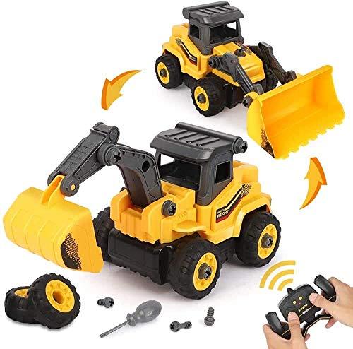 BeebeeRun 2-IN-1 DIY Desmontar Juguetes Vehículo de Construcciones Juguete,Camión Excavadora y Topadora Regalo Educativo para Niños de 3 4 5 Años