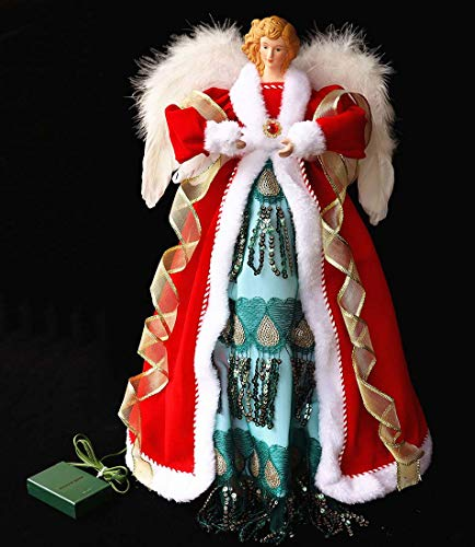 OCTMUSTARD Christmas Angel Tree Topper Lighted Warm White Led Light and Timer, 16' Angel Tree top with Battery Operated (Not Included),Red/Green/White