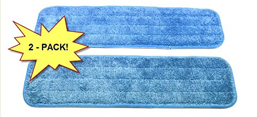 """2-pack Microfiber Mop Pads 18"""" Wet/Dry Washable for Domestic/Commercial Application. Work great on all hard surfaces! Top quality, EXCLUSIVELY from Wellness Cleaning Supply."""