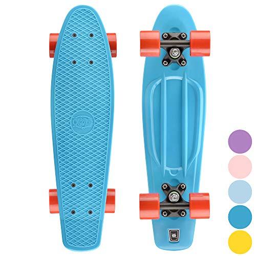 Xootz Cruiser Skateboard, für Kinder geeignet, im Retro-Design, aus Plastik, gebrauchsfertig Blau Blau/Blau 22-Inch