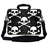 Meffort Inc 15 15.6 inch Neoprene Laptop Bag Sleeve with Extra Side Pocket, Soft Carrying Handle & Removable Shoulder Strap for 14' to 15.6' Size Notebook Computer - Hazard Skull