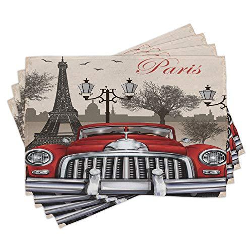 ABAKUHAUS Retro Salvamantel Set de 4 Unidades, Parisina del Paisaje de la Ciudad, Material Lavable Estampado Decoración de Mesa Cocina, Rojo Gris Crema