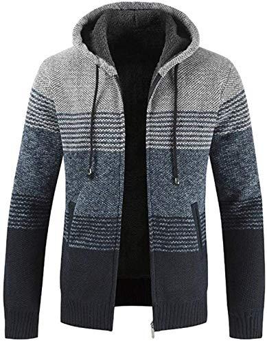 Chaqueta de manga completa con capucha y capucha para hombre, estilo informal, otoño e invierno a rayas, con cremallera interior de felpa