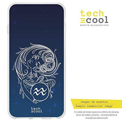 Funnytech® siliconen hoes voor BQ Aquaris U Plus [flexibele siliconengel, exclusief design] sterrenbeeld, aquarium, achtergrond hemel