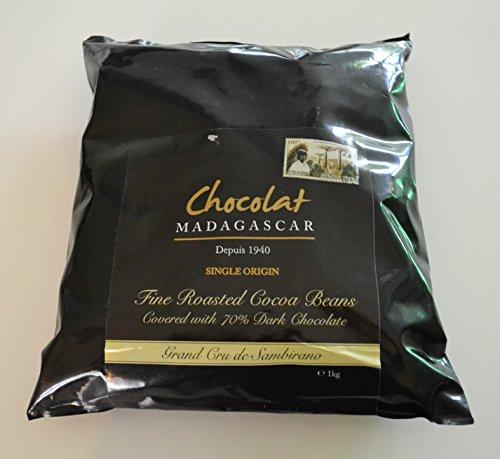 Chocolat Madagascar - Fèves de Cacao Torréfiés Enrobés de Chocolat Noir 70% Saupoudrés de Poudre de Cacao Naturel 1kg