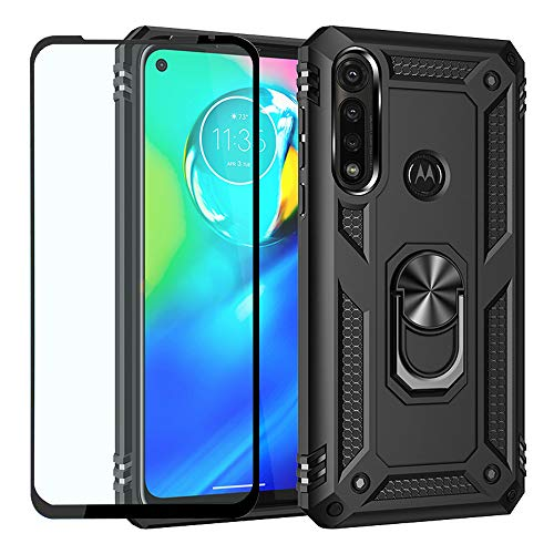 Strug for Moto G Power Case,Heavy Duty Shockproof Protection Built-in 360 Rotatable Ring Magnetic Car Mount Case with Tempered Glass Screen Protector for Motorola Moto G Power (Black)