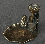 aipipl Esculturas Adornos y estatuillas Estatua de Cobre Incienso de Cobre Puro Inserción de Incienso Estufa Incensario Anciano Pesca Pez Lotus Decoración Estatua