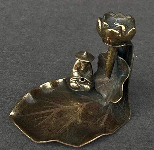 aipipl Esculturas Adornos y estatuillas Estatua de Cobre Incienso de Cobre Puro Insercin de Incienso Estufa Incensario Anciano Pesca Pez Lotus Decoracin Estatua