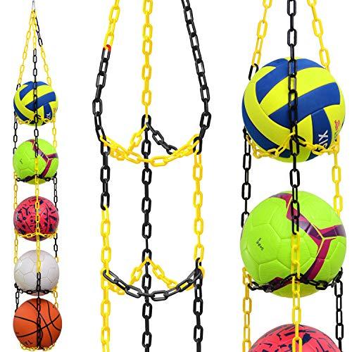 Vailantes® Ballaufhänger - Fußball Volleyball Basketball Originaler Ballhalter Fussball Deko Aufbewahrung Kinderzimmer Regal Hängendes Regal Ball Kinder Fussball Geburtstag Regal (Gelb/Schwarz)