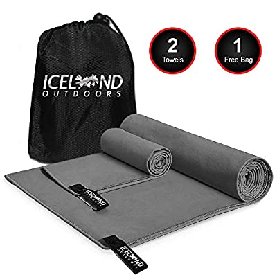 Iceland Outdoors 2 Size Towels for The Price of 1 - Microfiber Towel for Camping, The Gym, Travel - Quick Dry Ultra Compact Super Absorbent for Camp Beach Hiking Backpacking Yoga Fitness