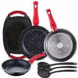 Pack 3 sartenes Energy Ø20/24/28 cm + Plancha grill asador de 37x25 cm + Set de 3 utensilios de cocina en nylon