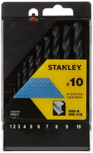STANLEY STA56030-QZ 10 Piece High Speed Steel Metal Drill Bit Set, includes 1mm, 2mm, 3mm, 4mm, 5mm, 6mm, 7mm, 8mm, 9mm, 10mm