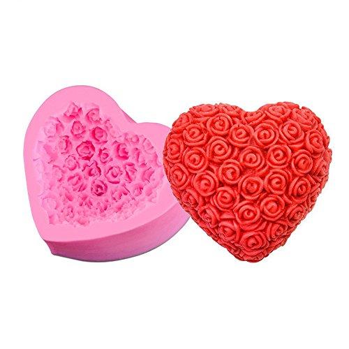 Dosige 1 pièces Rose en Relief Au Gâteau Fondant Chocolat en Silicone Moule Gâteau Moule Non-Stick Qualité Alimentaire Silicone (Rose)