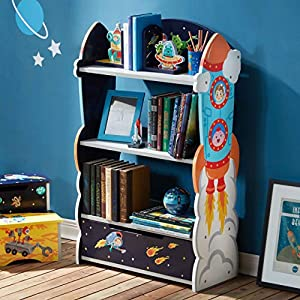 Fantasy Fields - Outer Space Thematic Sturdy Wooden Kids Bookshelf with Hand Crafted Designs , 3-Tier Shelf Bookcase and Toy Storage Drawer, Blue