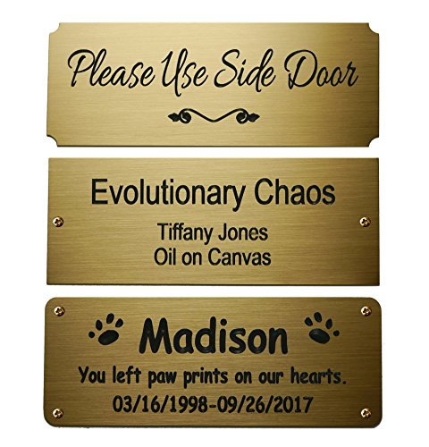 Size: 4 W x 1-1/2H, Personalized, Custom Engraved, Brushed Gold Solid Brass Plate Picture Frame Name Label Art Tag for Frames, with Adhesive Backing or Screws - Indoor use only