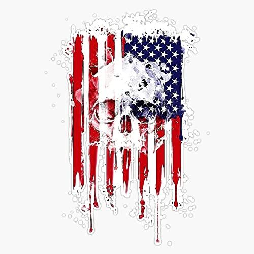 HOF Trading American Flag Skull Vinyl Sticker Waterproof Decal Laptop Wall Window Bumper Sticker 5'