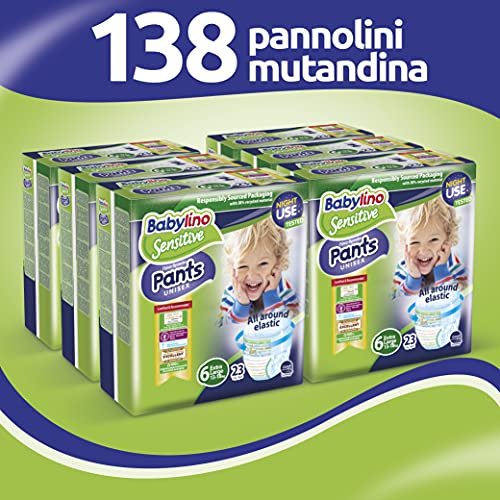Babylino Sensitive Pants Extra Large, 138 Pannolini Mutandina Taglia 6 (15+Kg)