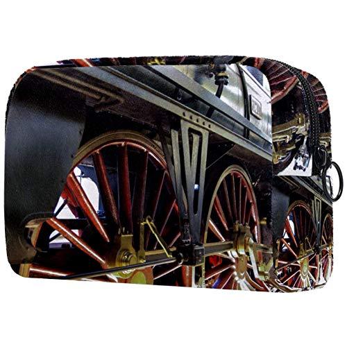 FURINKAZAN Bolsa de maquillaje de viaje con ruedas de tren de locomotora de vapor para artículos de tocador, bolsa de maquillaje para hombres y mujeres