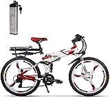 ENLEE Rich bit TOP-860 36V 250W 12.8Ah Bicicleta de Ciudad de suspensión Completa Bicicleta de montaña Plegable eléctrica Plegable (White-Red)