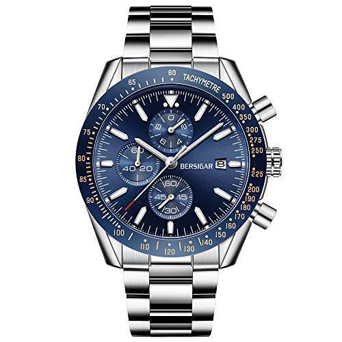 BERSIGAR Reloj de Pulsera de Cuarzo analógico para Hombre Elegante cronógrafo 30M Impermeable Reloj para Hombre Correa de Acero Inoxidable