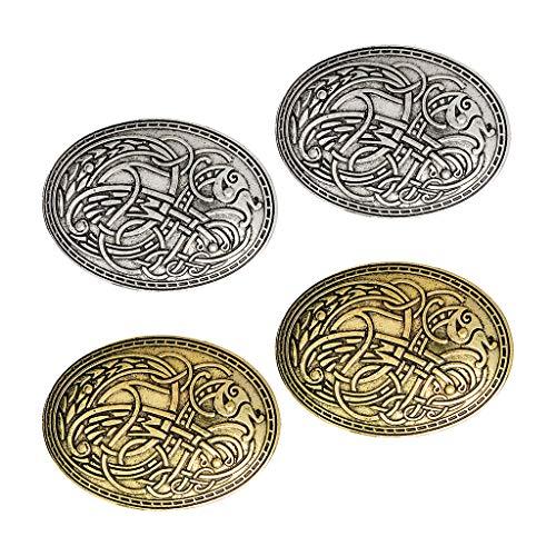 harayaa 4 Juegos de Broches Vikingos Medievales, Joyería Nórdica, Amuleto Pagano, Diseño Ovalado Wiccan