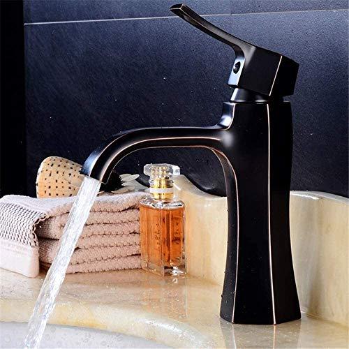 Vinteen Black Brass Mezclador Baño Cascada Faucet Faucet WashBasin Fregadero Grifo Mezclador de Agua Grifo del Fregadero del Lavabo para el baño de una Sola manija Cubierta montada (Color : Negro)