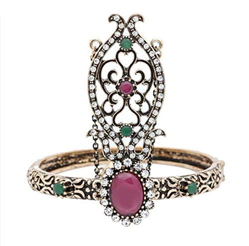 Armband,Rote Ethnische Türkische Frauen Blume Solide Vintage Armreif Antique Gold Silber Farbe Arabien Tanz Armband Indische Hochzeit Schmuck
